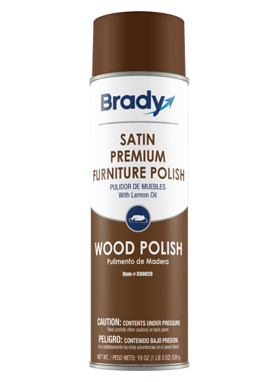 Brady Aerosol Satin Premium Furniture Polish Impact Cleaning