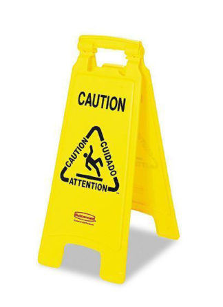 Rubbermaid Floor Sign with-Multi Lingual Caution Imprint